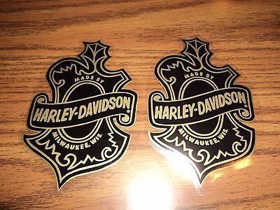 Lot of 2 HARLEY DAVIDSON motorcycle oak leaf inside window decal stickers biker