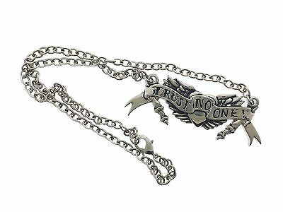 Trust No One Punk Goth Tattoo Rock Rebel Necklace Pendant Tribal Gothic Silver