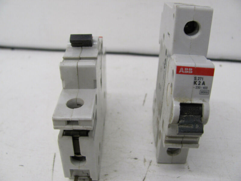 LOT OF 2 ABB CIRCUIT BREAKERS S271-K2A 277/480VAC MAX USED