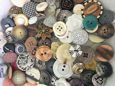 SWEETEST MIX! 100 pcs MIXED LOT of OLD-VINTAGE & NEW Buttons ALL TYPES & SIZES