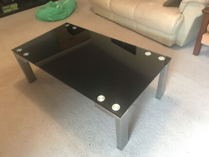 Glass Coffee Table Black Silver