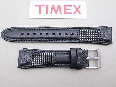 Genuine Timex Ironman black leather watch band strap 19mm lug (Black Leather Strap Lug)