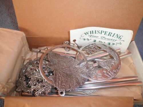 """NOS Whispering Winds Wolf Wind Chimes Pewter Windchimes 23"""""""