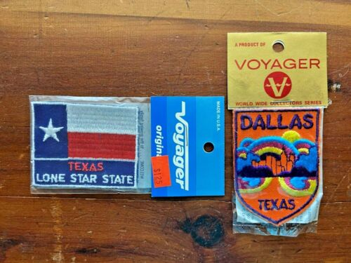 VTG NIP * (2) Embroidered TEXAS Souvenir PATCHES * DALLAS / LONE STAR STATE FLAG