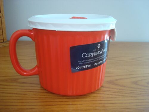 NEW CorningWare 20 oz Pop-In Red Soup Meal Microwave Mug w/ Vented Lid