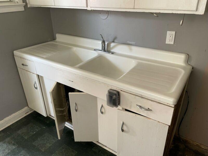 1950s American Standard Dual-Basin Cast Iron Kitchen Sink and Base $3000 OBO!!!!