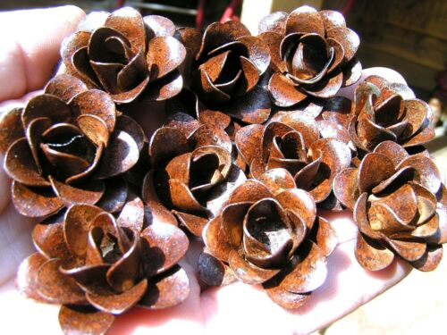 10 Rusty metal roses, flowers for crafts, jewelry, embellishment
