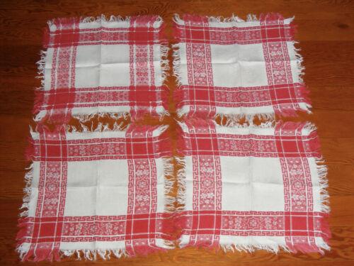 Set 4 Vintage Antique Table Linen Redwork Damask Napkins Fringe Intricate Weave