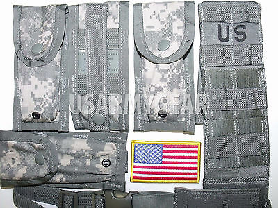 US Army ACU Molle II Pistolman Set 4 x 9 mm Single Mag Pouch + Leg Extender USGI