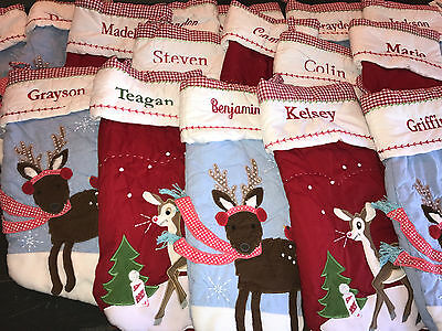Pottery Barn Kids New Various Quilted Reindeer Christmas Stocking Choose Name