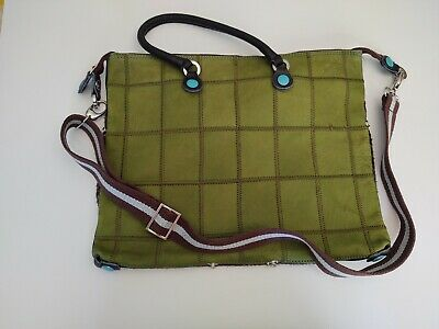 Gabs Convertible Handbag Green Leather Patchwork/Wool Ribbing Top Zipper Closure
