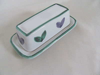 Caleca Violetta Hand Painted in Italy-Purple/Green-Covered Butter Dish-2 Avail - Purple Dishes