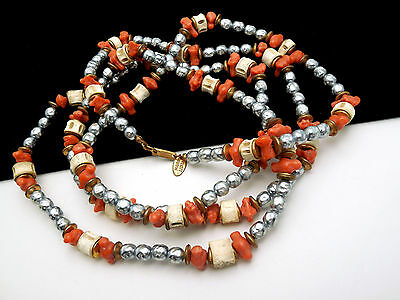 """Vintage Miriam Haskell Necklace 54"""" Grey Baroque Faux Pearl Coral Flapper Length on Lookza"""