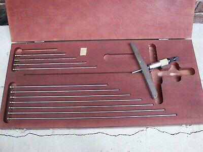 Starrett No. 445 Vernier Depth Micrometer 0-25 With 6 Inch Base 11 Rods Case