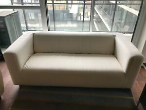 KLIPPAN loveseat from IKEA with white, washable cover
