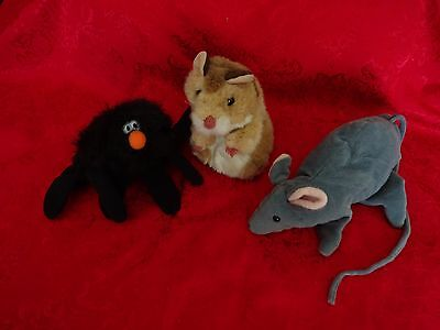 LOT OF 3 PLUSH HAND PUPPETS-SPIDER/HAMSTER/RAT