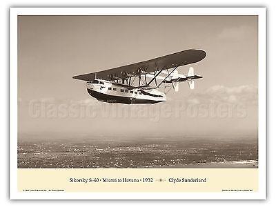 Southern Clipper Sikorsky S-40 Miami Havana Vintage Aviation Art Poster Print