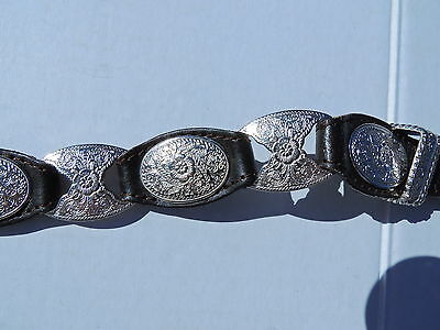 Brown Leather Silver Concho Belt ~ Women's size small ~ NEW  WITH TAGS