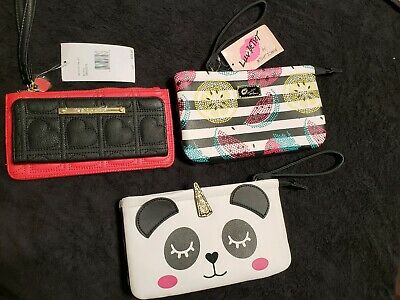 Betsy Johnson wristlet Wallet top Zip and wrist strap. NEW. Multi-colors $52-58