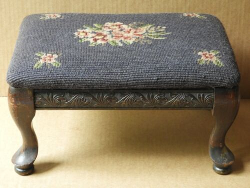 VINTAGE GREEN FLORAL NEEDLEPOINT & CARVED MAHOGANY SIDE PANELS FOOTSTOOL #1