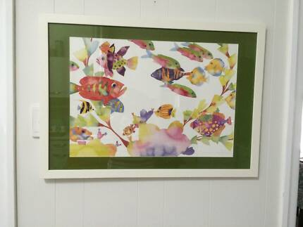 Framed watercolour painting