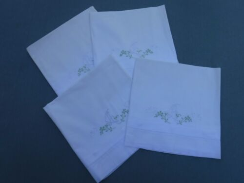4pc Antique Vintage Pillowcases CA Green Embroidered Monogram