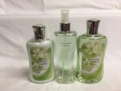 Bath & Body Works CUCUMBER MELON Lotion, Shower Gel & Spray Mist Set of (Cucumber Melon Gel Body Lotion)