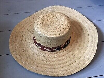 Vintage Wide Brim Straw Hat With Retro Ribbon/scarf Detail Gardening Occasional