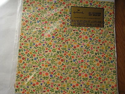 - vintage 1970s Hallmark sealed GIFT WRAP flower power ladybug garden birthday NOS
