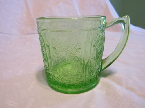 Cherry Blossom Depression Glass Rare Green Mugs by Jeanette Glass Co.