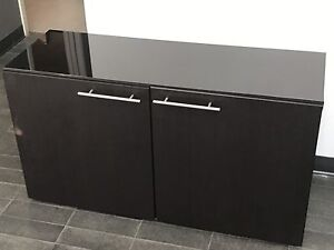 3 Black/Brown IKEA Besta storage cabinets w/ stainless handles