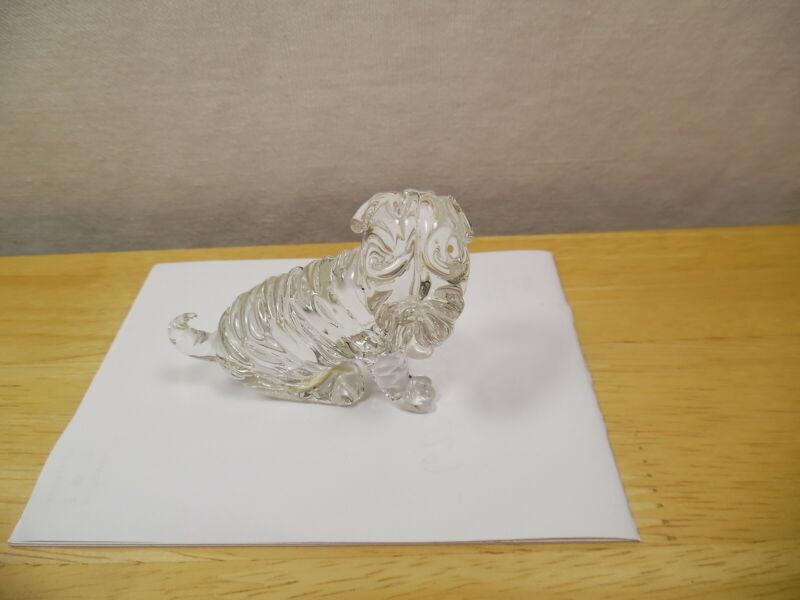 GLASS CRYSTAL FIGURINE SHARPEI DOG