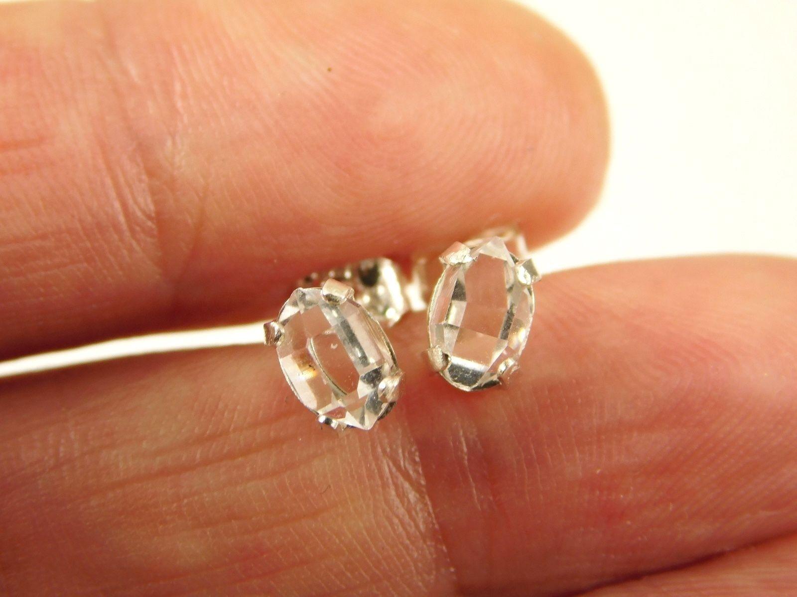 Купить 4x6 mm A+ Grade Herkimer Diamond Crystal Earrings set in Sterling Silver Q1