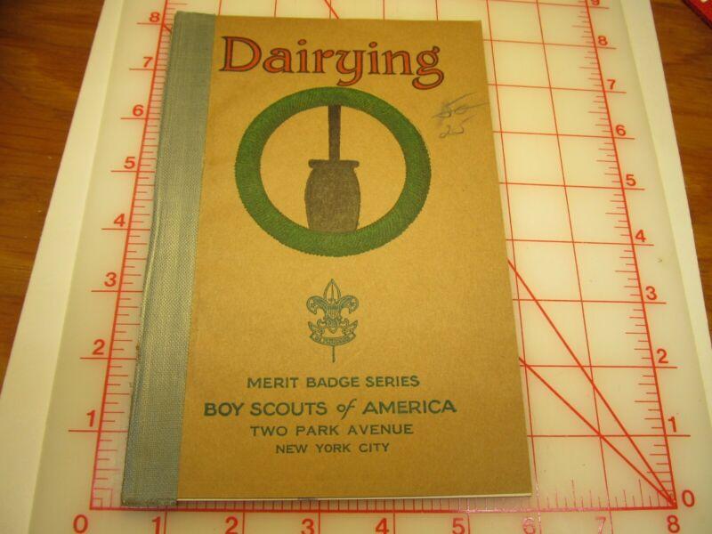 Tan cover Dairying merit badge book November 1937 type (3B)