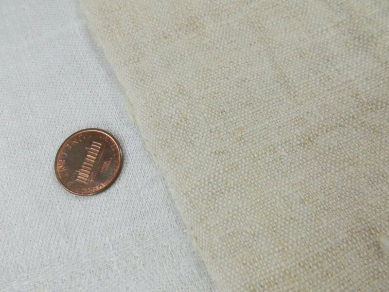 Vtg Antique FRENCH HEMP LINEN Beige Fabric COVERLET SHEET BLANKET QUILT 42x85