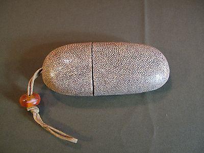 Fine Antique Korean Joseon Dynasty Shark Skin Glass Case with Orange Glass