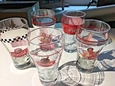"""Collectible Bar Coca Cola Set 5 Retro Soda POP Fountain Glasses 6"""" Red 026-41"""