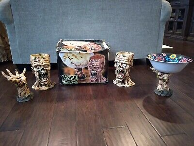 2) Spirit Halloween Zombie Chip & Dip Bowls, 1990's Spencer with Box