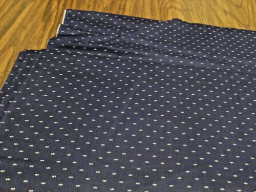 "Vintage Navy White Chamblee Fabric 44"" W by 3 Yards"
