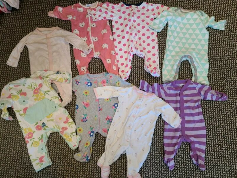Lot of 8 Baby Girl Sleep And Play Bodysuits, 3 Months