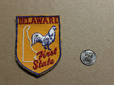 VTG 70s Delaware First State Patch Rooster Blue Red Gold White Embroidered