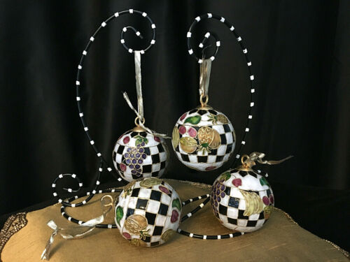 4 hanging ORNAMENTS BLACK & WHITE courtly checks CHRISTMAS/Year Round FRUIT