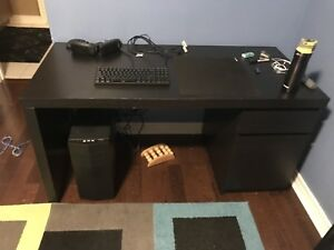 IKEA malm desk table with side cabinets