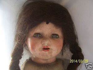 Vintage E.I.H. Co Inc Doll Early 1900's Original Hair ~ Open Mouth w/ Teeth ~
