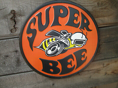 SUPER BEE Embossed Metal DISPLAY Charger Dodge chrysler Plymouth Orange Hemi Gra