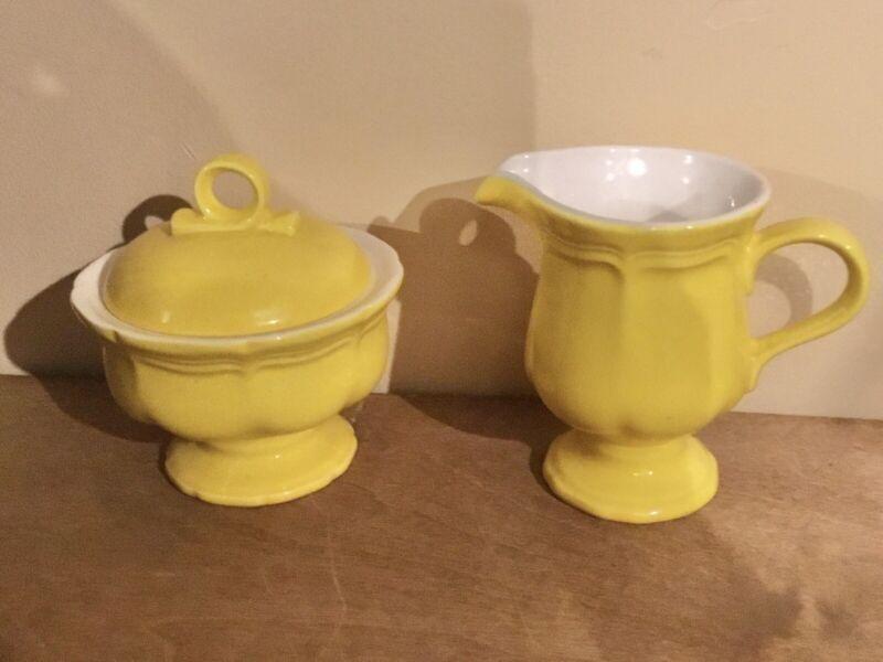 Vintage Yellow Mikasa Japan Sugar Bowl And Creamer