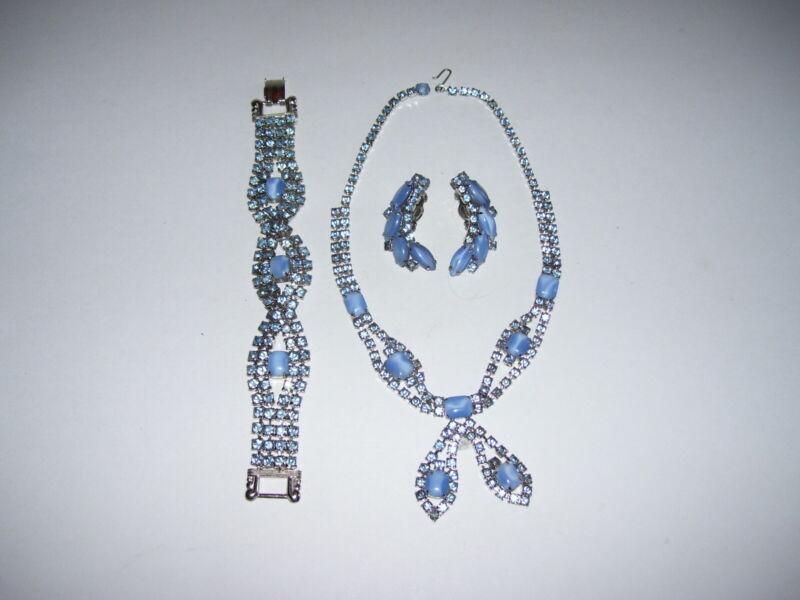 Vintage Blue Rhinestone Costume Jewelry Bracelet Necklace Earring Set WOW