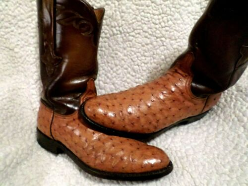 LUCCHESE, MEN, PREOWN, TOP, QUALITY, FULL, QUILL, OSTRICH, &, LEATHER, WESTERN, BOOTS-COGNA