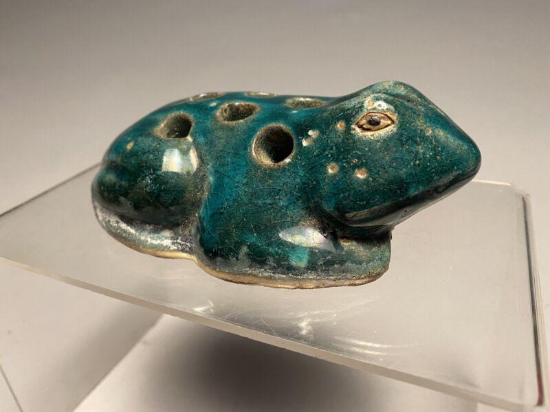 Antique Figural Stoneware Pottery Frog Flower Arranging Frog
