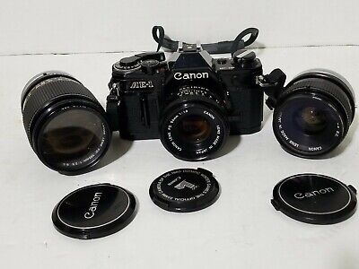 Canon AE-1 Program Camera Black with FD 50mm 35mm 135mm lens untested